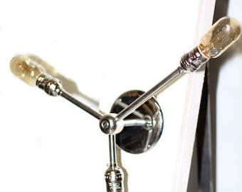 Modern Minimalist bare bulb edison 3 way offset arm Wall Sconce / Ceiling Semi Flush mount Light Fixture - Chrome or Brass finish