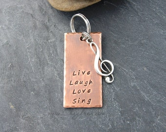 MUSIC GIFT, Musician Gift, Music Lover Keychain, Gift for Music Teacher, Chorus Teacher, Band Teacher, Live Laugh Love Sing,