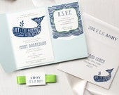 """Blue Whale Baby Shower Invitations, Nautical Themed Invitations - Pale Aqua Solid Pocket, Navy Blue, Lime Green, Customizable - """"Blue Whale"""""""