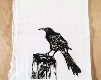 Grackle Screen Printed Tea Towel