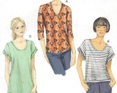 Womens Pullover Knit Tops Neckline Variations OOP Vogue Sewing Pattern V8879 Size 16 18 20 22 24 26 Bust 38 to 48 UnCut