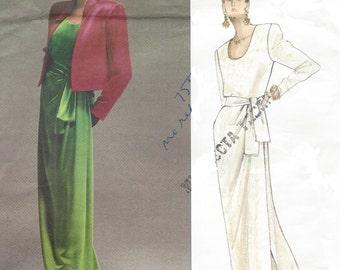90s Yves Saint Laurent Womens Evening Gown & Jacket Vogue Sewing Pattern 2603 Size 8 10 12 Bust 31 1/2 to 34 FF Vogue Paris Original Pattern