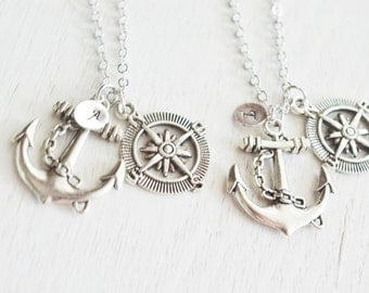 best friend, monogram jewelry, anchor compass necklace, ship sea compass, nautical necklace, anchor necklaces, bridesmaid, couples necklace