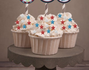 4th of July Cupcake Toppers,  July 4th cupcake toppers, Patriotic Frog cupcake toppers, 4th of July Party . July 4th party. Set of 24