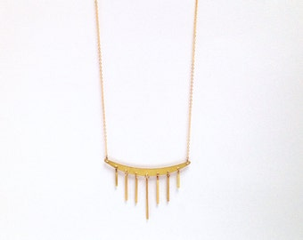 Long brass necklace with golden fringes