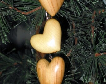 3 Heart Wood Carving Ornament Hand Carved Juniper Valentine's Day Gift for Mother Girlfriend Sculpture Hanging Decor Romantic Art by Joan