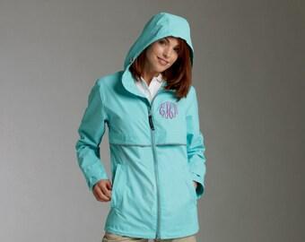 Ladies Rain jacket - New Englander Rain Jacket Monogrammed rain jacket windbreaker - Color AQUA