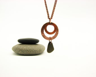 Copper Jewelry Earthy Rustic Necklace Beach Stone Pebble Necklace  Copper Circles Hammered Hippie Bo Ho Handmade