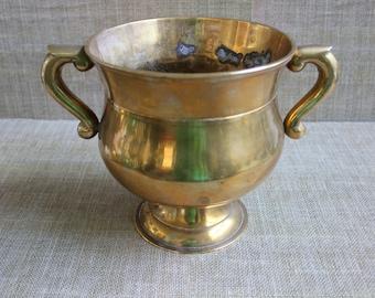 Large Brass Pedestal Urn/Planter--Vintage Brass Planter