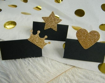 Black and Gold Party Decoration / Place Cards / New Years Eve Party / Graduation / 40th 50th 60th 70th 80th 90th 100th  Birthday / 25 cards