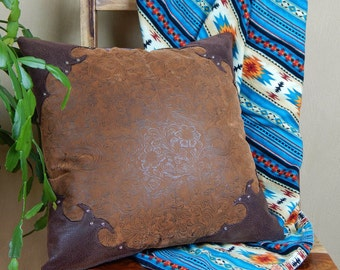 Western Tooled Leather Pillow - rustic southwestern pillow set with silver studs