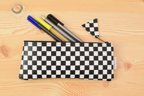 Leather pencil case,leather pencilcase,leather pouch,black & white leather,black pencil case,leather case,leather coin purse,damero case