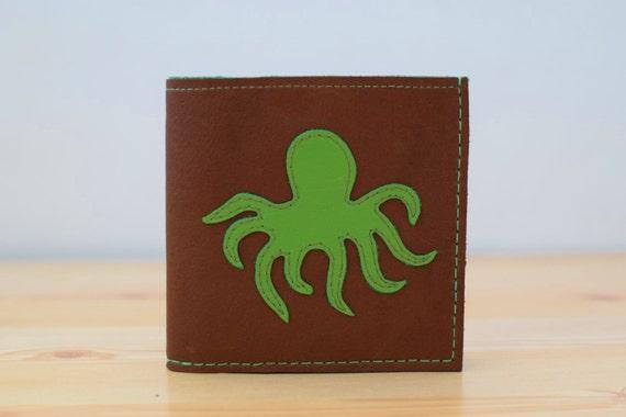 Men wallet, leather wallet, brown wallet, custom wallet, brown leather,octopus, man wallet, men leather wallet, pockets wallet,animal wallet