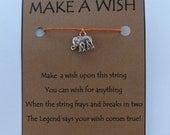 Elephant Elefante WISH STRING Bracelet String Friendship Charm Suerte Deseos Lucky Amulet Cord Color Choice