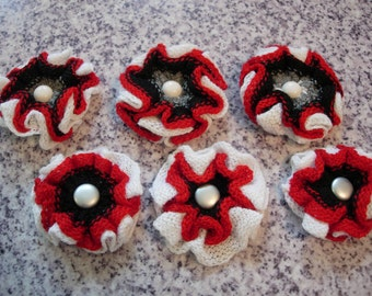 6 pcs. Ohio State knit flower embellishment headband barrette making supplies red black gray white OSU