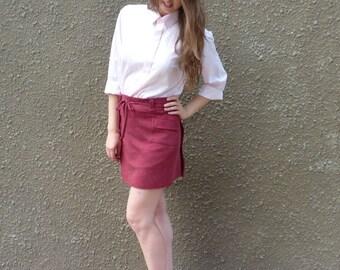 Burgundy skirt,  mini skirt,  wrap skirt, skirt with pocket, soft wool jersey skirt,   OOAK  repurposed eco friendly