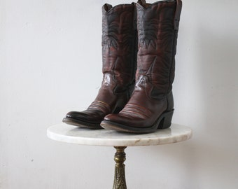 Cowboy Boots - 8.5 Women's - Red Brown Leather Texas - 1980s Vintage