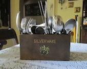Vintage Napkin Silverware Caddy Wood Silverware Napkin Holder Carry Tray