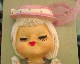 Vintage Head Pocket Vase / Rare 50s Teen GIrl Head Pearl Necklace / Japan