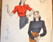 Vogue 5024 Blouse with Dart Tucked Round Neckline, Long Short Sleeves Women's Misses Vintage 1940s Sewing Pattern Bust 30 Unprinted Complete