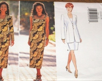 Easy Vintage Sewing Pattern Butterick 4001, Fitted Maxi Sundress Dress, Jacket Womens Misses Size 12 14 16 Bust 34 36 38 Uncut Factory Folds