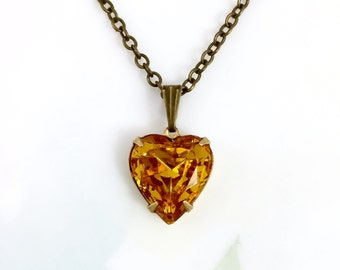 Heart Necklace Topaz Heart Necklace Vintage 1950's Topaz Gold Glass Jewel-New OX Setting Topaz Necklace November Birthstone Anniversary Gift