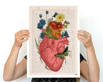 Pink Flowery Heart Human Anatomy print - Anatomical art prints wall art doctor, digital art SKA088PA3