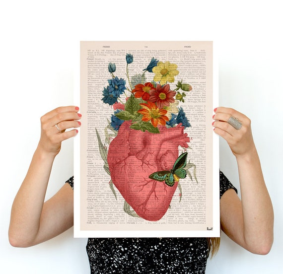 Pink Flowery Heart Human Anatomy print - Anatomical art prints wall art doctor, digital art wall art, SKA088PA3