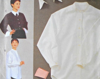 Vogue Shirt with Removable Collar and Cuffs Pattern, Size 14, 16, and 18, Vintage 1994
