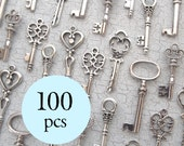 The Caspian Collection - Skeleton Key Charm Assortment in SILVER - Set of 100 Keys