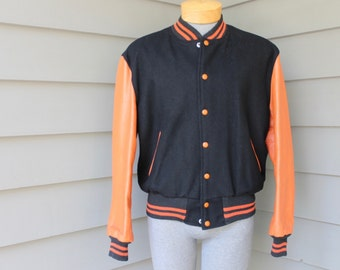 vintage 50's - 60's -Brill Bros 'Timberline'- Men's athletic Letterman jacket. Black wool body- Orange leather sleeves. 42 Regular
