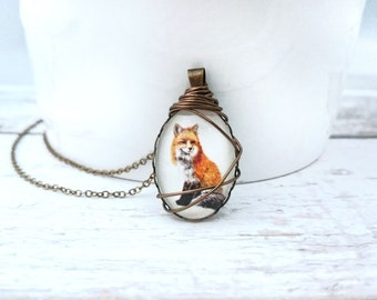 Fox Necklace - Fox pendant, Fox jewelry, Wire Wrapped necklace