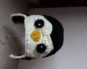 Penquin Hat, Baby, Infant, Ear Flaps, Crochet, Penguins of Madagascar, Beanie Hat, 6 to 12 Months, Ready to Ship