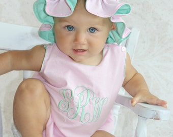 Baby Romper Monogram Baby Girl Bubble Romper Pink & Mint Baby Newborn Baby Girl Clothes 0-3 mon up to 2T Toddler Girl Romper
