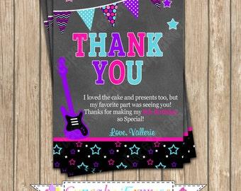 DIY Rockstar Girl Birthday PRINTABLE Thank You Card  Chalkboard #2 pink black purple teal guitar rock star  invitation music 8