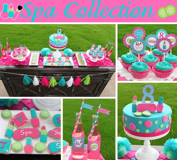 Spa Girls Birthday Party decorations PRINTABLE Deluxe Package