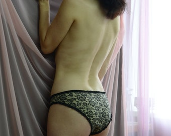 Women Sleepwear & Intimates Panties Handmade Lingerie The One Layer Rouche Jersey Panties MADE TO ORDER
