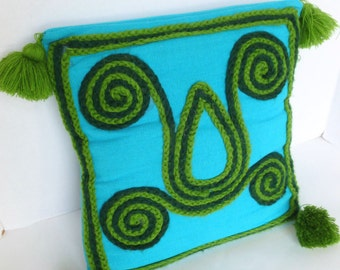Scandinavian Style Throw Pillow with Tassels Turquoise and Green Mid Century Home Decor