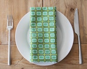 Cloth Napkins - Green Rectangles - Set of 4