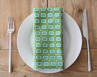 Cloth Napkins - Green Rectangles - Set of 4