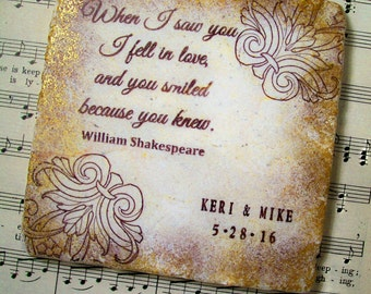 Shakespeare Gifts - Shakespearean Wedding Coasters, When I Saw You, Set of 4 Personalized Wedding Coasters for Couples, Wedding Registry