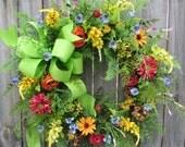 Spring / Summer Door Wreath, Spring / Summer Door Wreath, Bright Green, Gold, Orange, Rose, Interior Design, Wildflower Wreath, Mother's Day