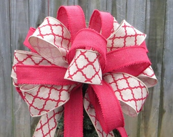 Christmas Tree Topper in Quatrefoil and Burlap- Christmas Tree Topper - Burlap Tree, Tree Top Bow in Burlap, Red and Natural Linen