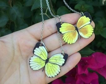 Malagasy Grass Yellow Butterfly Original Art Necklace Eurema floricola
