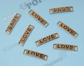 Antique Bronze Love Tag Connector Charms, Love Charm, Love Connector Charm, Love Finding, 27mm x 7mm (R9-089)