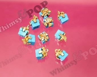 Blue Alloy Gift Present Charm Pendant, Gift Pendants, Gift Pendants, Gift Charm, 11mm x 9mm (3-1G)