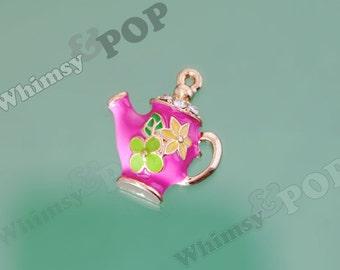 1 - Sweet Little Teapot Pink Enamel and Crystal Kawaii Foodie Charm, Teapot Charm, 24mm x 22mm (4-2G)
