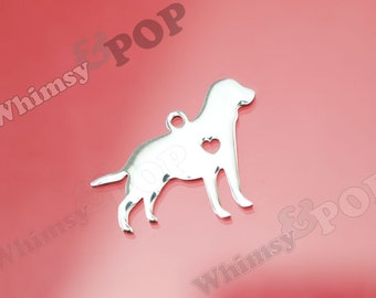 1 - Stainless Steel Pet Silhouette Lab Dog Charm, Labrador Retriever Charm, Labrador Retriever Charm, Dog Charm, 30mm x 24mm (5-4H)
