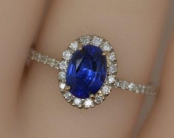 royal blue sapphire, 1.03ct 14K white gold engagement diamonds halo ring sku-B-1.03