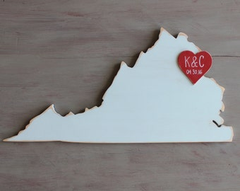 Custom Wooden State Wedding Guestbook - 2 ft Virginia in Distressed White - any state/country available in many colors